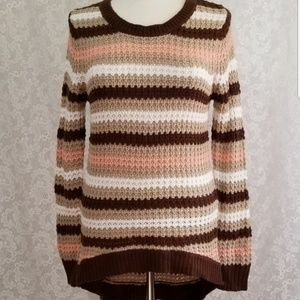Rue21 Striped Open Knit High Low Sweater M